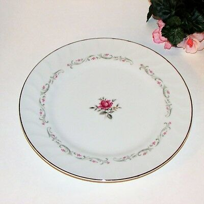 Royal Swirl Dinner Plate Fine China Japan Pink Rose Grey Leaves Platinum Rim
