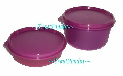Tupperware Set 2 Small Bowls 6 oz Little Wonder Bowl 14 oz Dip Dish Purple