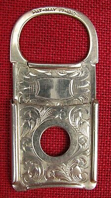 Marked 1910 And 10Kt Fine Gold Cheroot / Cigar Cutter Engraved Pocket Watch Fob