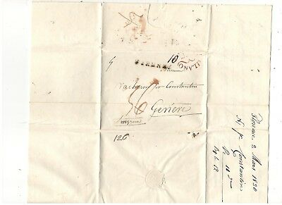 1820 Stampless Folded Letter, Firenza Italy To Switzerland, Black Sl Pm