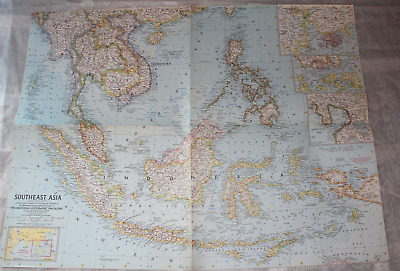 Map Southeast Asia National Geographic Magazine 1961