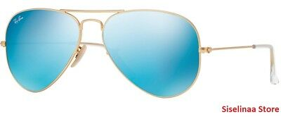 2ec53655a5a Ray Ban 3025 112 17 Golden Aviator Blue Mirror Sunglasses 58mm New and  Authentic