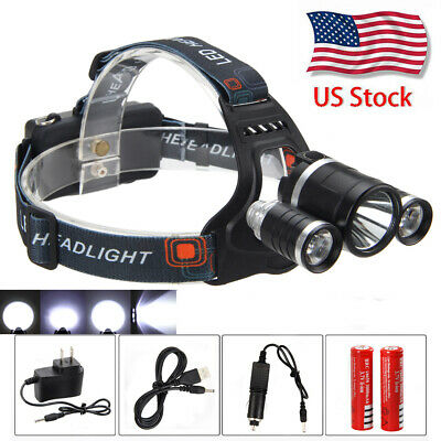 50000LM XML T6+2R5 Zoom LED Headlight Headlamp Torch USB+2*18650+AC/Car Charger
