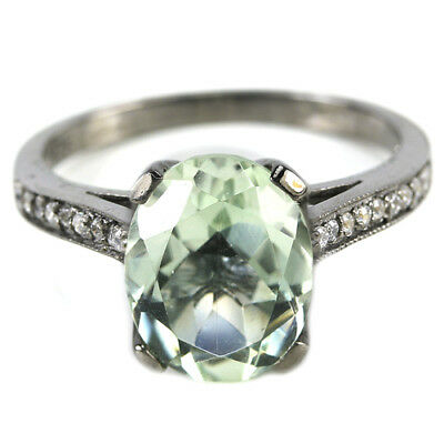 Dazzling Natural Green Amethyst Oval & White Cz Sterling 925 Silver Ring Size 6