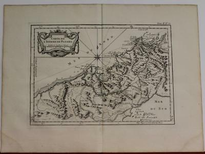 Panama Isthmus Of Panama 1763 Bellin Unusual Antique Copper Engraved Sea Chart