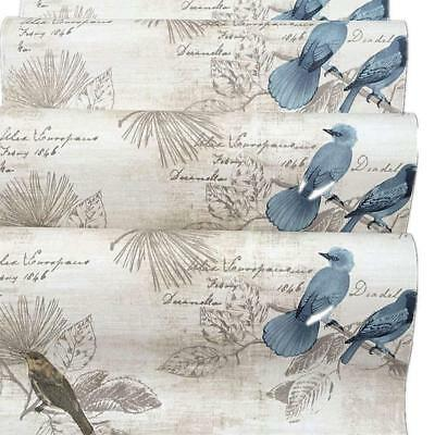 BESTERY Self-Adhesive Vintage Blue Birds Wallpaper Furniture Remake Stickers...