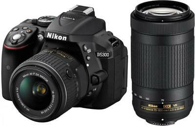 Nikon D5300 DSLR Camera with AF-P 18-55mm VR & 70-300mm  Lens Black TT