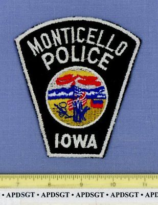 MONTICELLO (Old Vintage) IOWA Sheriff Police Patch MESH CHEESECLOTH STATE SEAL