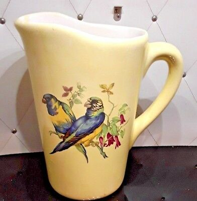 Beautiful Large Yellow  Porcelain Pitcher with Two Birds on the Front Side