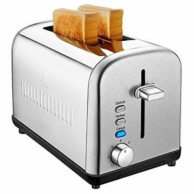 Bread Bagel 2-Slice Toaster Durable Extra Wide Cool Touch Stainless Steel Silver
