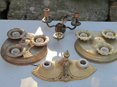 Lot of 4 Vintage Ceiling Lights Parts