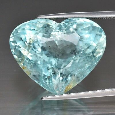 Huge Rare! 23.15ct 20.7x16.6mm Heart Natural Unheated Greenish Blue Aquamarine