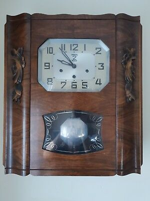 French Antique Vintage LCB 2 Airs Cabinet Wall Clock, Chimes