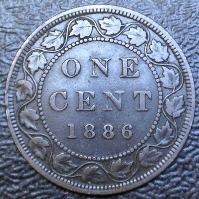 OLD CANADIAN COIN 1886 ONE CENT LARGE CENT - BRONZE - Victoria - Nice Coin