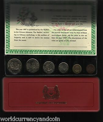 Singapore 1 5 10 20 50 1 Dollar 1987 Rabbit Year Unc Commemorative Mint Coin Set