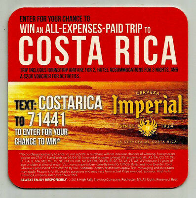15 Imperial Win A Trip To Costa Rica Beer Coasters