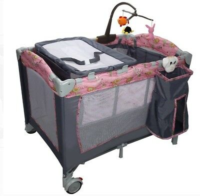 Costway Foldable Baby Crib Playpen Playard Pack Travel Infant Bassinet Bed Music