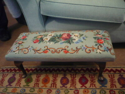 Stunning Antique tapestry footstool with Queen Anne legs duck egg/floral detail