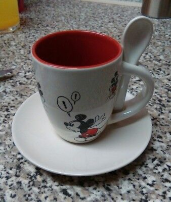 New Disney Mickey Mouse cup and saucer with spoon attached