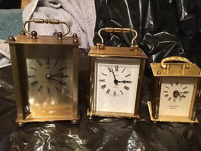 3 Vintage heavy Brass Carriage Clocks