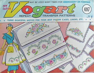 Vogart 697 Beautiful Floral Pillowcases & Linens Embroidery Transfer Pattern UC