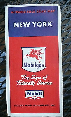 1957 New York  road map Socony Vacuum  gas oil Mobil metro New York City