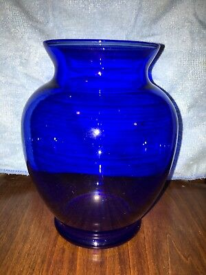 vintage cobalt blue cut glass vase