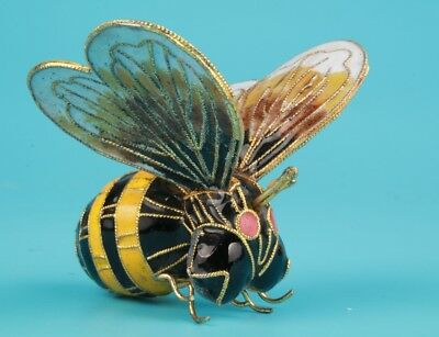 Cloisonne Hand-Carved Bee Statue Model Pendant Old Chinese Art