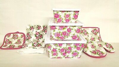 6 pc Rose Design Storage Containers with Matching Textiles