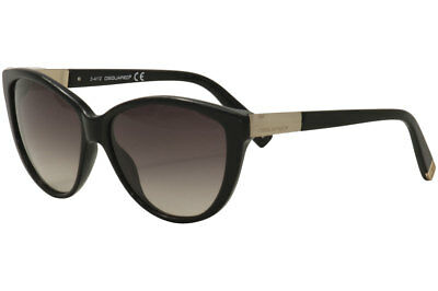 ed707e3aa81 Dsquared2 Women s DQ0112 DQ 0112 01B Black Light Gold Cat Eye Sunglasses  58mm