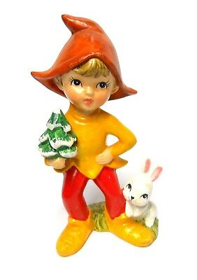 Very Cute Vintage Christmas Pixie Elf Boy With Tree & Rabbit Figurine