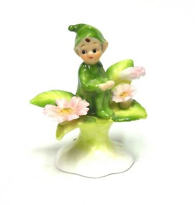 Vintage Miniature Napcoware Bone China Pixie On Flower Figurine