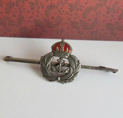 VINTAGE Sterling SILVER Sweetheart Enamel Royal NAVY BROOCH
