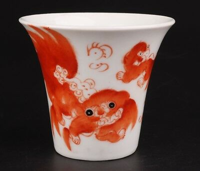 Retro Chinese Porcelain Tea Bowl Cups Hand-Painted Fish Mascot Home Decoration