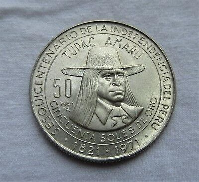 Lima Peru Unc. 50 Soles De Oro Large Silver Coin 1821-1971 150 Year Independence