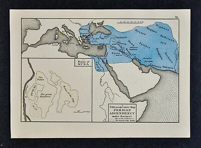 1872 Labberton Map Persian Ascendency Darius I Susa Persia Iran Iraq Middle East