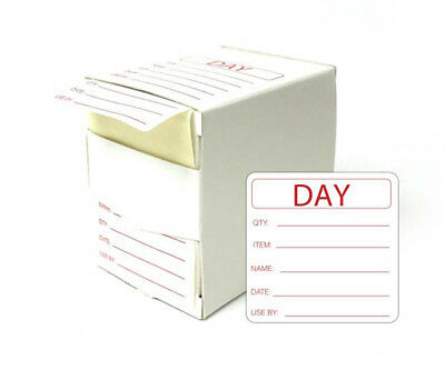 500 Food Preparation Use by Labels Prepped Self Adhesive in Dispenser Box Day