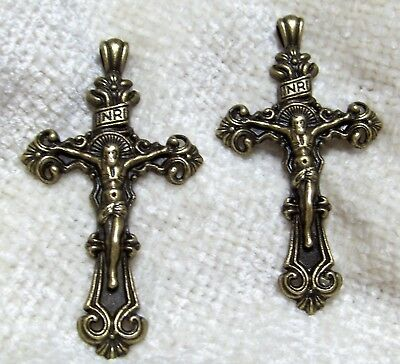 2 Ornate Bronze Metal Crucifix Pendants-Rosary Crosses-Catholic-Religious-Jesus