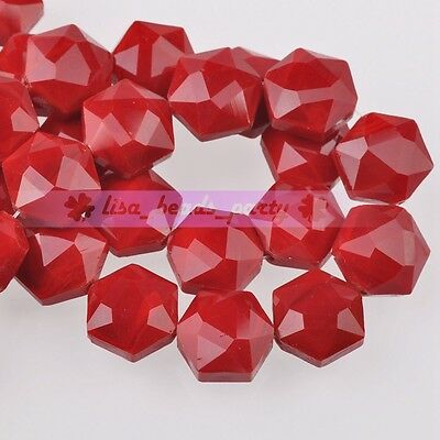 5pcs 14mm Hexagon Shape Faceted Glass Loose Spacer Beads Porcelain Red