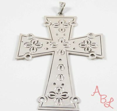 Sterling Silver Vintage 925 Religious Cross Huge Mexican Pendant (27.8g) 745396
