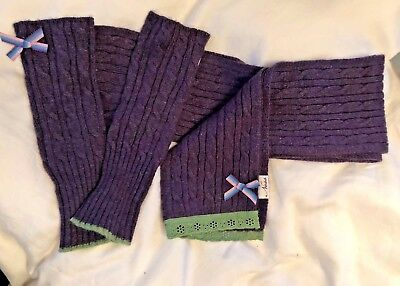 New without Labels Ness Purple Cable Knit Wool Scarf & Mitts Set