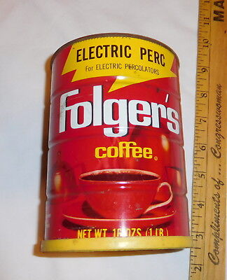 vintage Folger's Coffee tin Can EMPTY with Lid electric perc 16 oz size