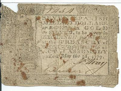 May 3, 1779 Colonial Virginia $7 Spanish Milled Dollars VA166 Currency Very Rare