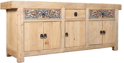 92''l Carved Gothic Antique Old World Pine Sideboard Buffet