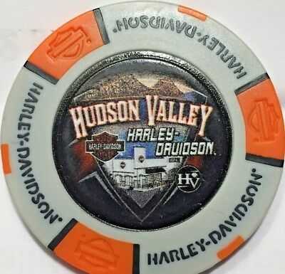 Harley Poker Chip   HUDSON VALLET HD  in NANUET, NY     GRAY & ORANGE