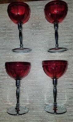 4 Art Deco Red Glasses & Stainless Steel Bases  Cocktail Liquor Stemware Glasses