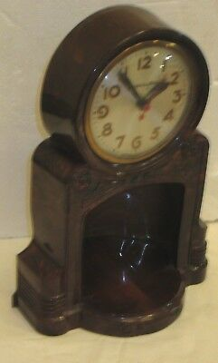 VINTAGE MASTERCRAFTERS FIREPLACE Electric Mantle Clock parts/repair Not Running
