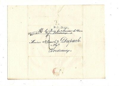 1816 Stampless Folded Letter, Martinique, Stl Pm