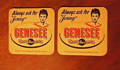 """Lot of 2 Vintage Genesee Brewery Coasters """"Always ask for Jenny"""" Rochester NY"""