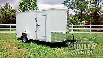 NEW 2019 6 x 12 V-Nosed Enclosed Cargo Motorcycle Trailer w/Ramp & Side Doors